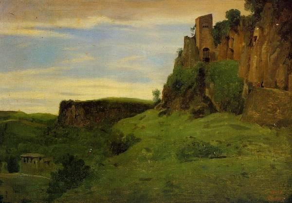 Corot Civita Castelland Buildings High in the Rocks aka La Porta San Salvatore